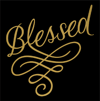 "Blessed Swirl (9.75x9.75"") Matte Gold Soft  Metallic  Vinyl  Bling Shirt - Bling By Bates"