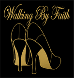"Walking By Faith (8.75x8.75"") Matte Gold Soft  Metallic  Vinyl  Bling Shirt - Bling By Bates"
