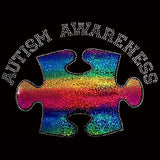"Autism Awareness (6.25x7"") Hologram Vinyl & Rhinestone Bling Shirt - Bling By Bates"