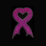 "Heart Ribbon Cancer (8.5x5.5"") Rhinestone Bling Shirt - Bling By Bates"