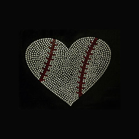 "Baseball Heart Large (7.5x9"") Rhinestone Bling Shirt - Bling By Bates"