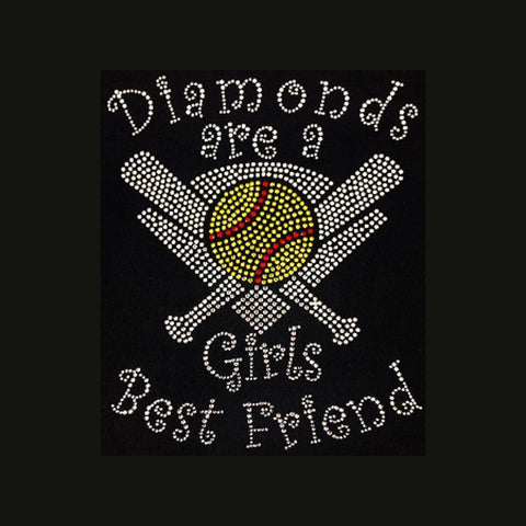 "Diamonds are a Girl's best Friend Softball (9.5x7.5"") Rhinestone Bling Shirt - Bling By Bates"