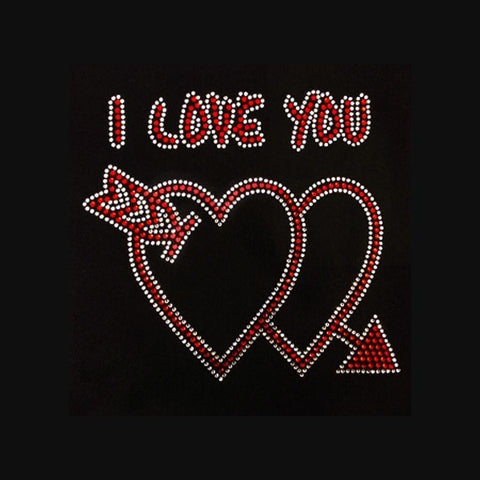 "I Love You (8x8.5"") Rhinestone Bling Shirt - Bling By Bates"