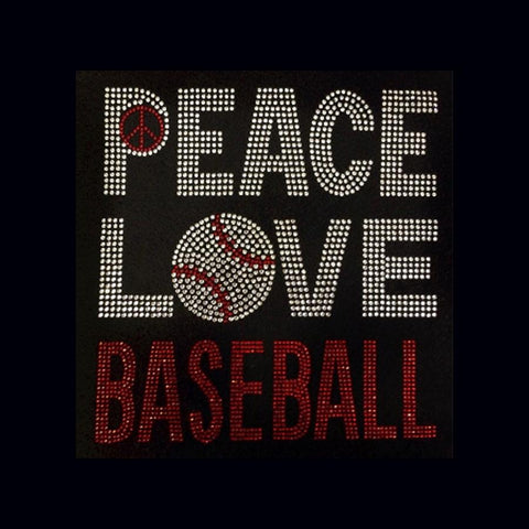 "Peace Love Baseball (8.5x8.5"") Rhinestone Bling Shirt - Bling By Bates"