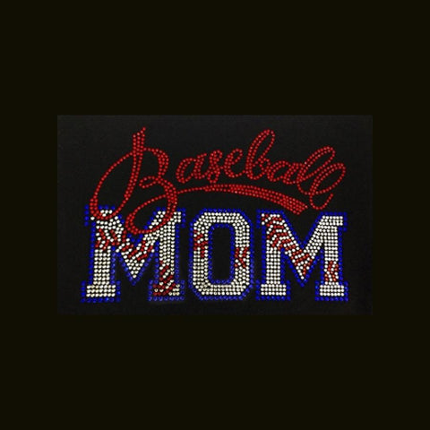 "Baseball Mom Stitches (6.5x9.5"") Rhinestone Bling Shirt - Bling By Bates"