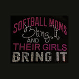"Softball Moms Bling It (8x9.75"") Rhinestone Bling Shirt - Bling By Bates"