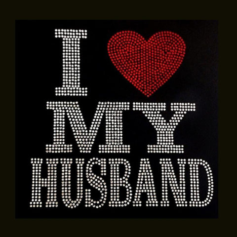 "I Love My Husband (9x9"") Rhinestone Bling Shirt - Bling By Bates"