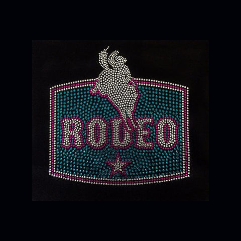 Rodeo Rider (8.5x8.5) Rhinestone Bling Shirt - Bling By Bates