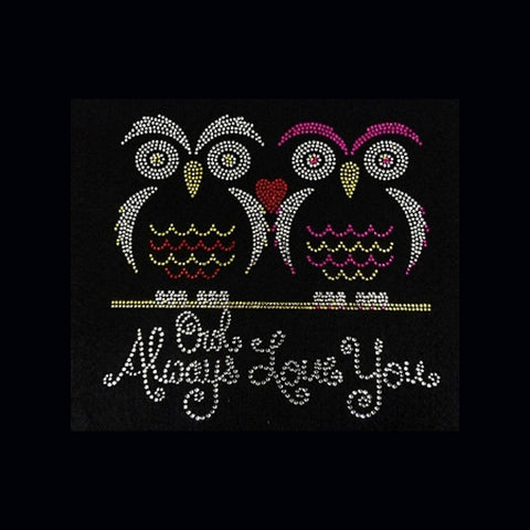 "Owl Always Love You (8x8.25"") Rhinestone Bling Shirt - Bling By Bates"