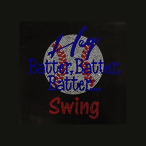 "Baseball Hey Batter Batter (9.75x9.75"") Rhinestone Bling Shirt - Bling By Bates"