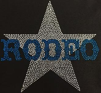 Rodeo Star Blue (9x9.5) Rhinestone Bling Shirt - Bling By Bates