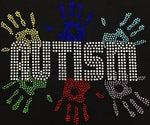 "Autism Hands (6.25x7"") Rhinestone Bling Shirt - Bling By Bates"