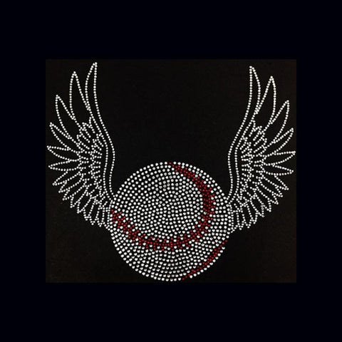 "Baseball with Wings (9x10"") Rhinestone Bling Shirt - Bling By Bates"