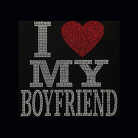 "I Love My Boyfriend (9x9"") Rhinestone Bling Shirt - Bling By Bates"