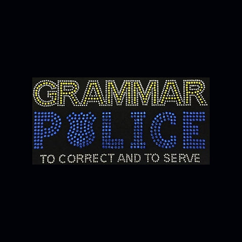 "Grammer Police Yellow (4.75x9.75"") Rhinestone Bling Shirt - Bling By Bates"