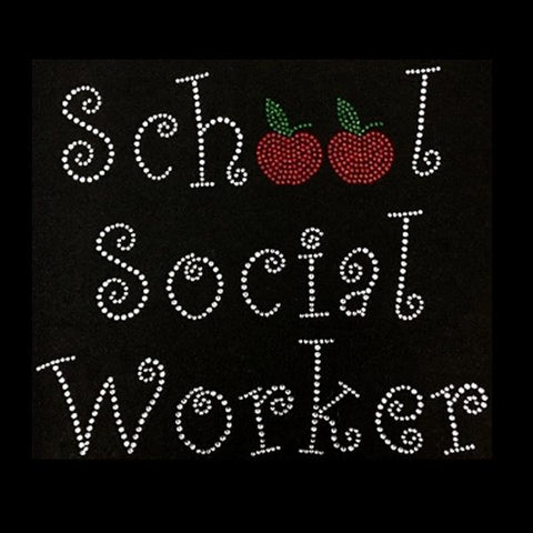 "School Social Worker (7.75x9"") Rhinestone Bling Shirt - Bling By Bates"