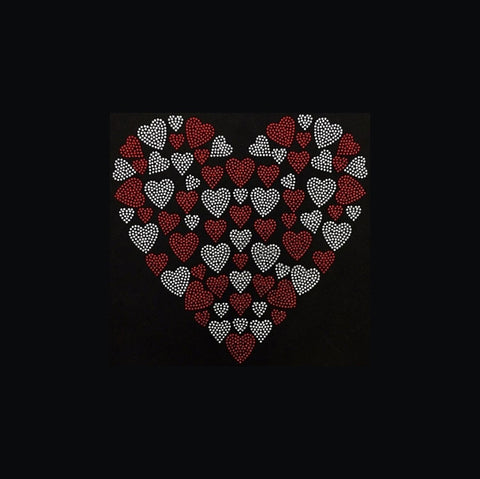 "Heart With Small Hearts Red (9x9"") Rhinestone Bling Shirt - Bling By Bates"