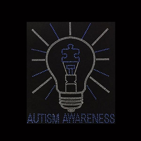 "Autism Awareness Light Bulb (10x8.5"") Rhinestone Bling Shirt - Bling By Bates"