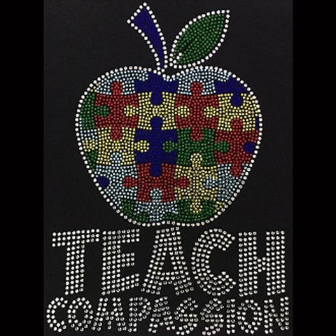 "Teach Compassion (10x7.25"") Rhinestone Bling Shirt - Bling By Bates"