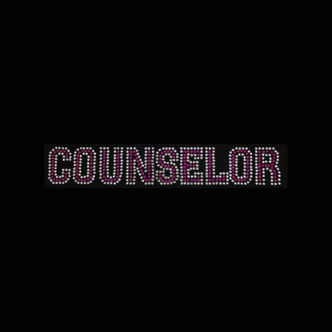 "Counselor Pink (1.755x10"") Rhinestone Bling Shirt - Bling By Bates"