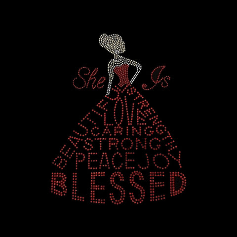 "She is Blessed (7.5x10"") Faith Red Rhinestone Bling Shirt - Bling By Bates"
