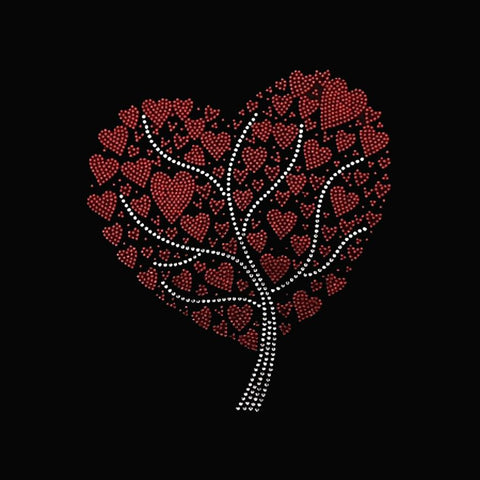 "Small Hearts Tree (9.5x8.25"") Rhinestone Bling Shirt - Bling By Bates"