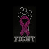 "Fight Cancer Fist Ribbon (9.75x6"") Rhinestone Bling Shirt - Bling By Bates"