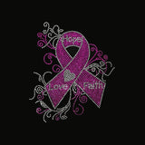 "Hope Love Faith Ribbon (10.75x9.5"") Rhinestone Bling Shirt - Bling By Bates"