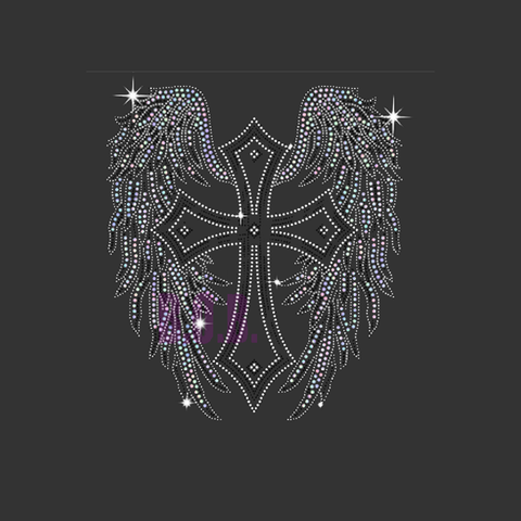 "Large Pointy Cross With Wings (13x11.5"") Faith Rhinestone Bling Shirt - Bling By Bates"