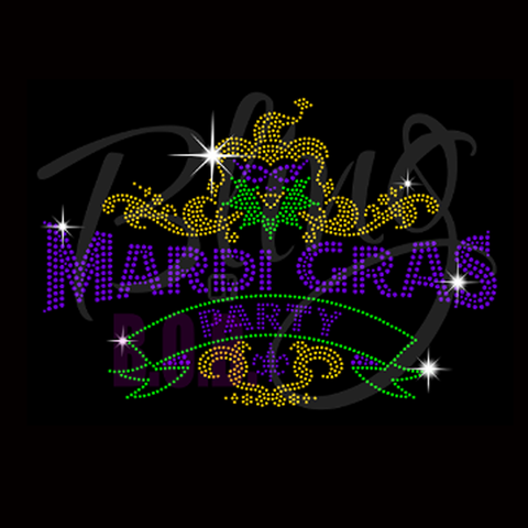 "Mardi Gras Party (7x10"") Rhinestone Bling Shirt - Bling By Bates"