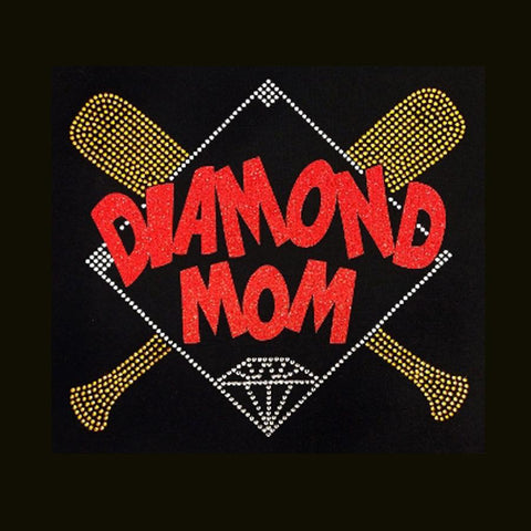 "Diamond Mom Red (9.5x10.5"") Baseball/Softball Glitter Vinyl & Rhinestone Bling Shirt - Bling By Bates"