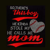 "This Boy Stole My Heart (10.5x9.5"") Baseball Glitter Vinyl & Rhinestone Bling Shirt - Bling By Bates"