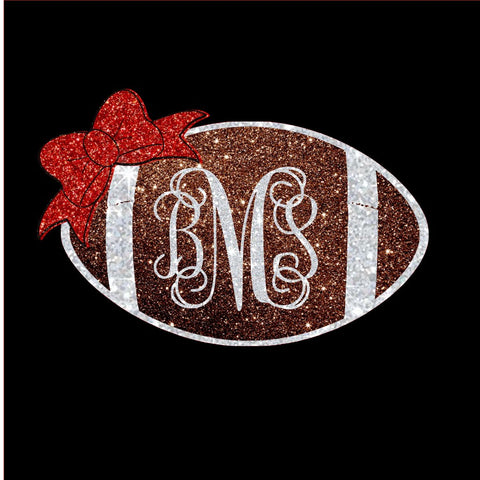 Football with Monogram Glitter Vinyl Bling Shirt