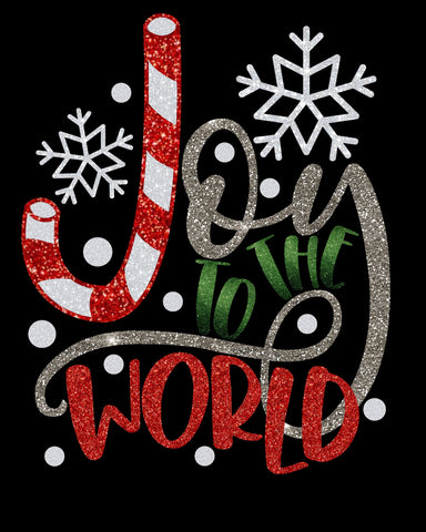 Joy To The World Glitter Vinyl Bling Shirt - Bling By Bates