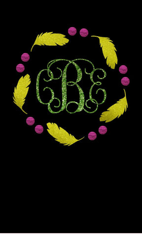 Mardi Gras Monogram Frame with Feathers Glitter Vinyl Bling Shirt - Bling By Bates