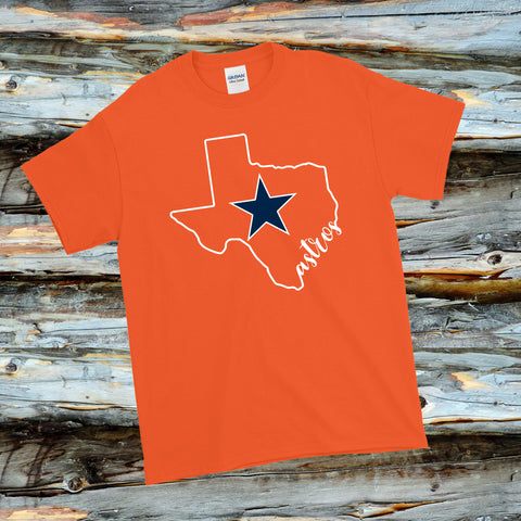 Astros Texas Map and Star on Orange Shirt - Bling By Bates