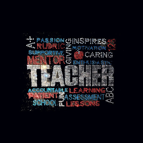 "Teacher Words (7x9.5"") Rhinestone Bling Shirt - Bling By Bates"