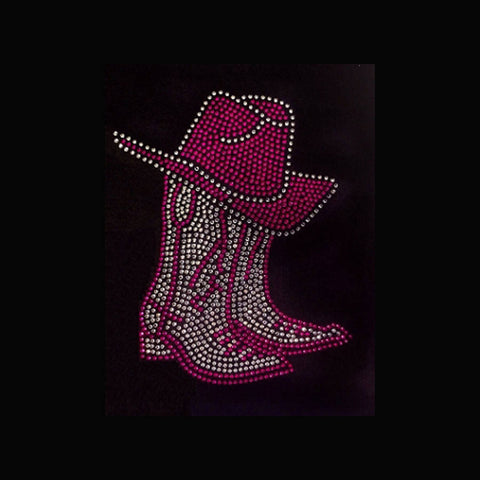 "Boot and Hat Pink (8.25x6.25"") Rhinestone Shirt - Bling By Bates"