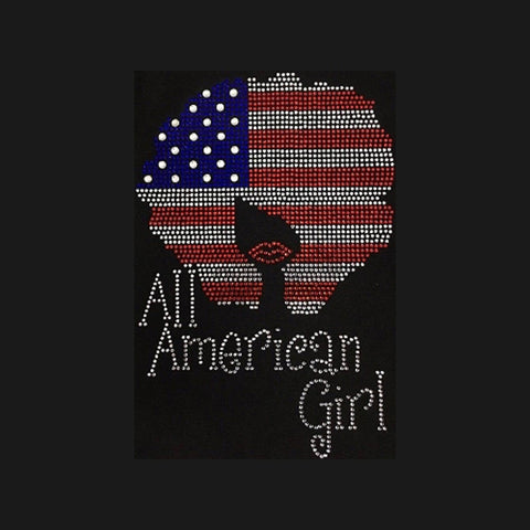 "Natural Girl Flag (11.5x8"") Patriotic Rhinestone Bling Shirt - Bling By Bates"