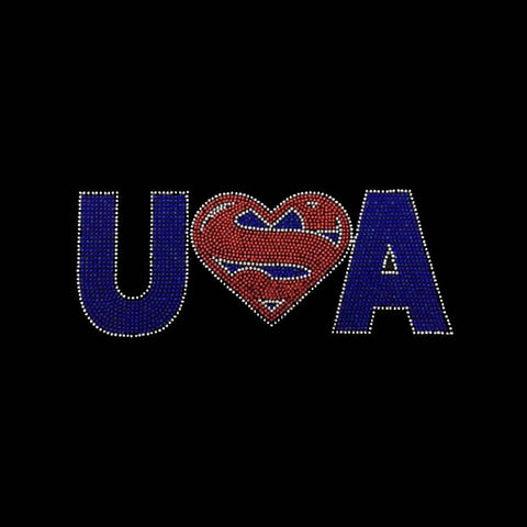 "Super USA Heart (2x9"") Patriotic Rhinestone Shirt - Bling By Bates"