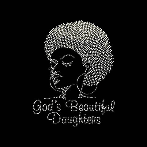 "God's Beautiful Daughters (9.75x7.5"") Rhinestone Bling Shirt - Bling By Bates"