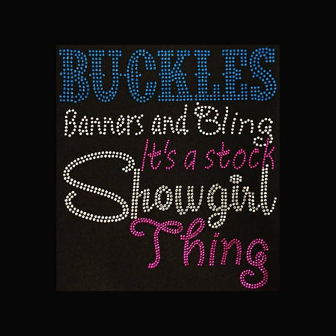 "Buckles Banners & Bling (9.5x8.5"") Rhinestone Shirt - Bling By Bates"