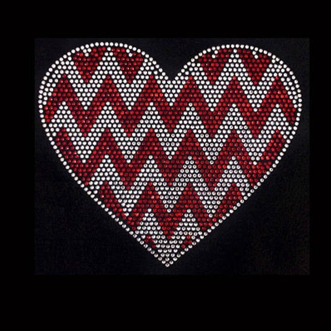 "Chevron Heart   (7x8"") Rhinestone Bling Shirt - Bling By Bates"
