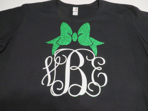 Monogram with Bow, Metallic, Plain or Glitter Vinyl Bling Shirt - Bling By Bates
