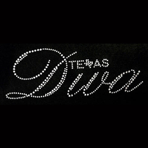 "Texas Diva Clear Rhinestone (3x8"") Bling Shirt - Bling By Bates"