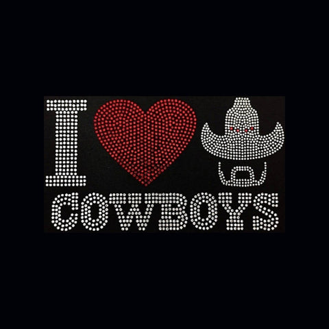 "I Love Cowboys (5x9"")  Rhinestone Bling Shirt - Bling By Bates"