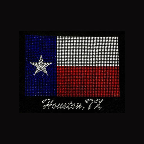 "Houston Texas Flag (6.75x8.5"") Patriotic Rhinestone Bling Shirt - Bling By Bates"