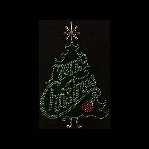 "Merry Christmas Tree Green (9.5x8.75"") Rhinestone Bling Shirt - Bling By Bates"
