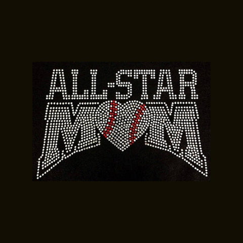 "All Star Mom (6.25x9.25"")  Baseball Rhinestone Bling Shirt - Bling By Bates"