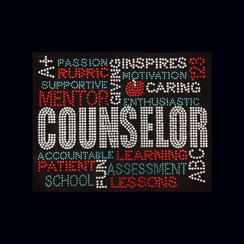 "Counselor (7.5x9"")  Rhinestone Bling  Shirt - Bling By Bates"
